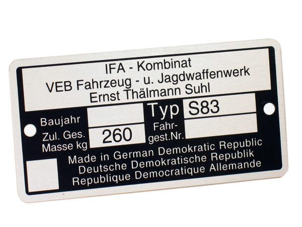 10039069 Typenschild S83 Aluminiumplakette - Bild 1