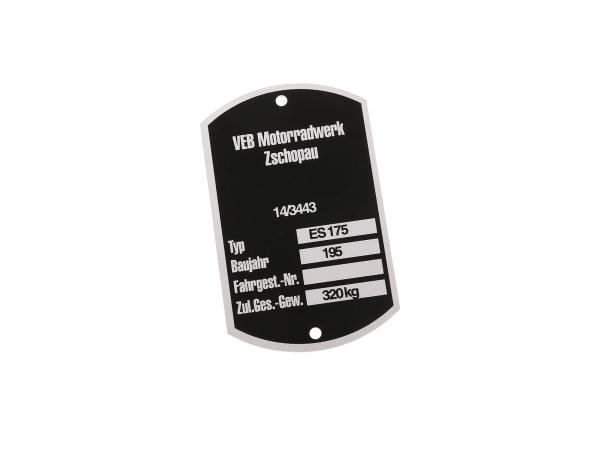 10054866 Typenschild ES175 (breit) BJ.195  (Aluminium)*** - Bild 1
