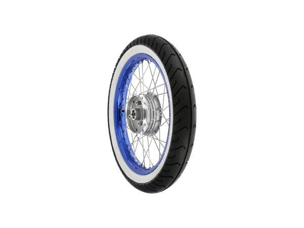 """10069409 Komplettrad vorn, 1,5x16"""" Alufelge blau + Edelstahlspeichen + Weißwandreifen Mitas MC2 - Bild 1"""