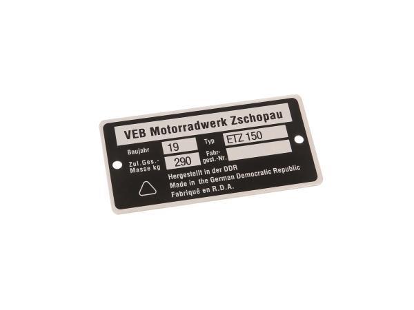 10038759 Typenschild ETZ150 schmal (Aluminium) - Bild 1