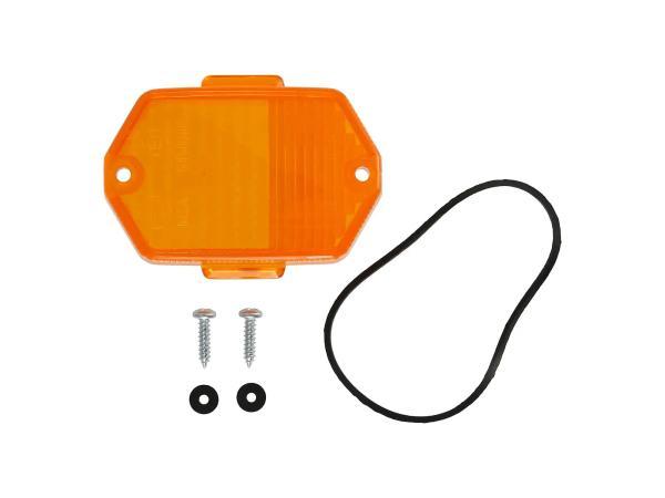 10069386 Blinkerkappe 6-eckig, orange inkl. Gummidichtring + Schrauben - Simson S50, S51, S70, SR50, SR80 - MZ ETZ, TS - Bild 1