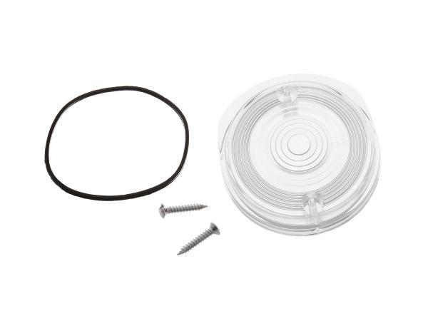 Blinkerkappe vorn, rund, weiß inkl. Gummidichtring + Schrauben - Simson S50, S51, S70, SR50, SR80 - MZ ETZ, TS