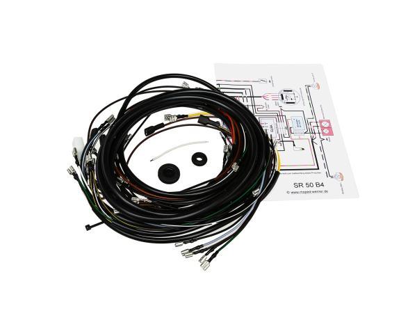 Kabelbaumset SR50 B4, 6V-Unterbrecherzündung mit Schaltplan