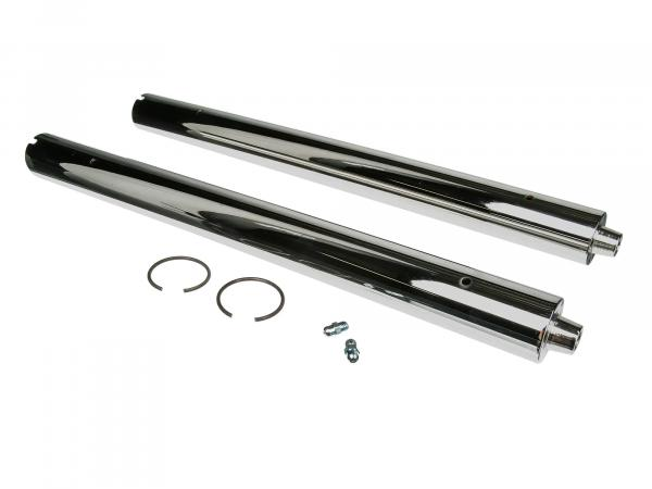 Pair of telescopic forks, fork spar, guide tubes for RT125 - 1,2,3 - steel, chrome-plated, with grease nipple and snap ring - Ø39,95mm - length approx. 46cm
