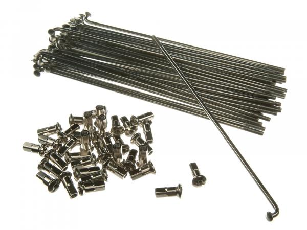 Set: Spokes with nipple - 156,5mm M3,5 in stainless steel for 17 inch - Simson S53, S83