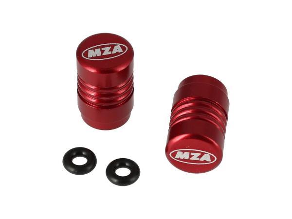 10031179 Set: 2x Ventilkappe MZA-Design, Rot eloxiert - Bild 1