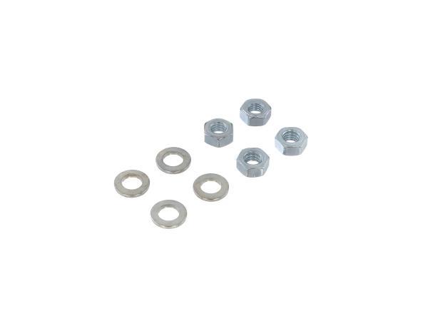 Set: 4x Muttern mit Scheiben für Zylinderkopf - Simson S50, S51, KR51/2 Schwalbe, Motor   S53, S70, S83, SR50, SR80