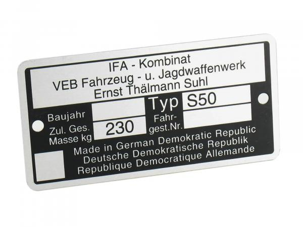 Nameplate S50 aluminium badge
