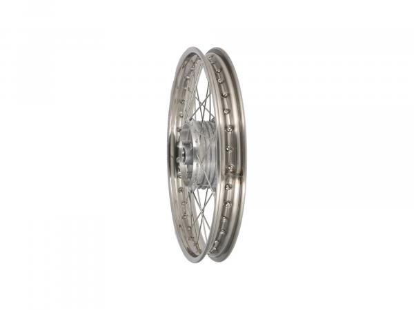 "Spoked wheel 1.6 x 17"" stainless steel rim + stainless steel spokes - Simson S53, S83, MS50"
