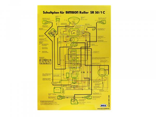 Circuit diagram color poster (40x60cm) Simson SR50, SR80 1C 12V