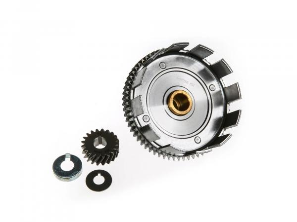 Set: clutch basket + drive pinion + safety washer + safety cap, 65/20 tooth - Simson S51, S53, SR50, KR51/2 Schwalbe