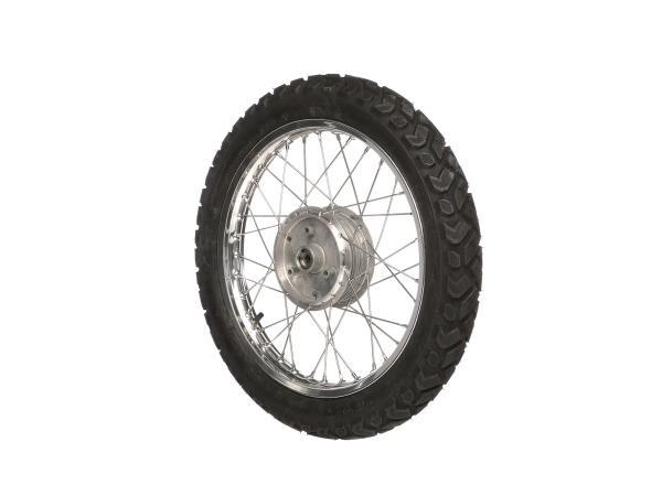 """10007893 Komplettrad vorn 1,5x16"""" Alufelge + Edelstahlspeichen + Reifen Vee Rubber (wie K42) - Bild 1"""