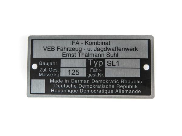 10057420 Typenschild Mofa SL1 (Aluminium)*** - Bild 1