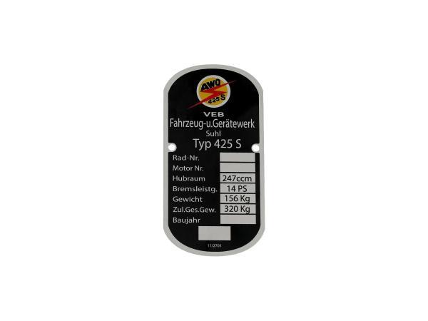 10013624 Typenschild, Rahmenplakette aus Alu - für Simson AWO 425 Sport - Bild 1