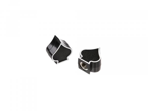 Set: 2x Valve Cap Peak, Black