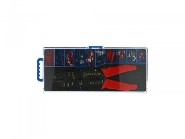 Set: Insulated cable lugs + crimping tool, 71 pieces