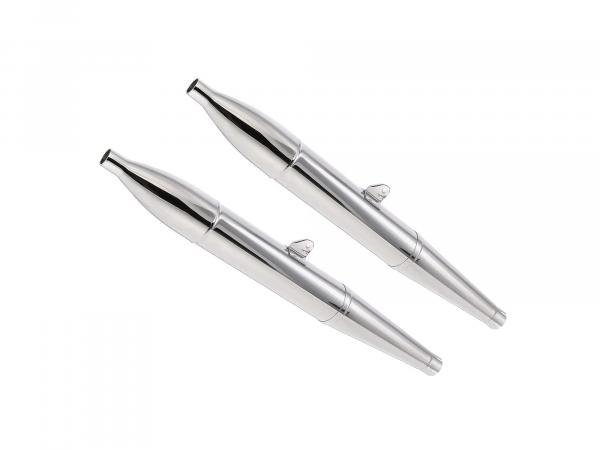 Exhaust BK350 cigar type 1 (1 set = 2 pieces) chrome, three pieces, dismountable