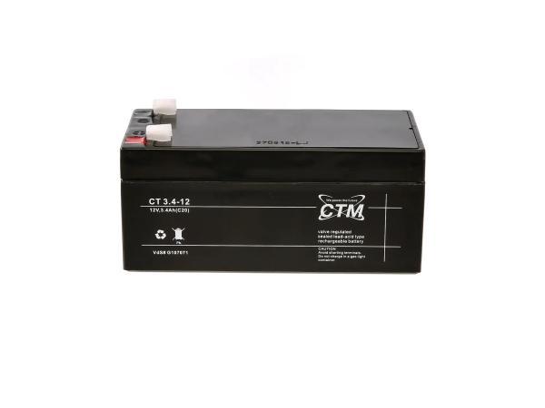 Batterie 12V 3,4Ah CTM (Vlies - wartungsfrei) für Umbausatz - für Simson AWO 425, MZ RT