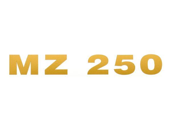 """Schriftzug (Folie) """"MZ 250"""" gold für Werkzeugkastendeckel/Sitzbank - für MZ TS250, ETS250"""