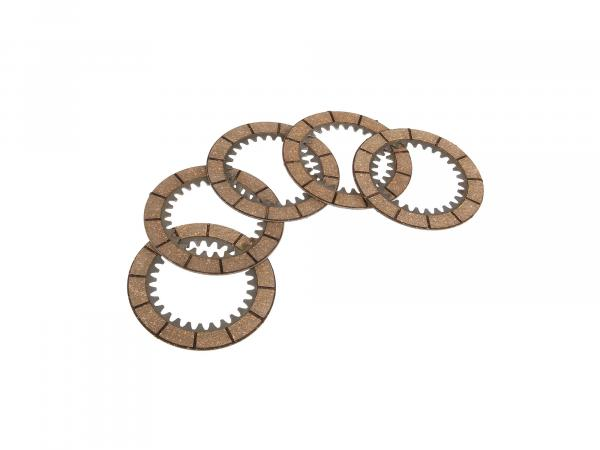 Set: 5x clutch disc (friction disc, inner plate) - for MZ ETZ, TS, ES