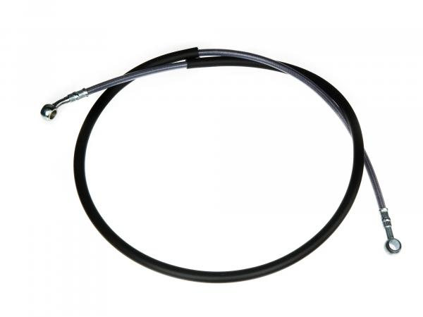 Set brake hose, brake line, reinforced with steel mesh, front - length approx. 135cm - with 1x banjo bolt and 2x sealing washers
