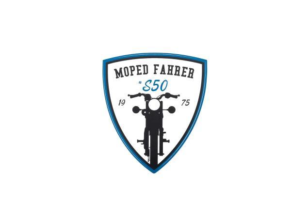"""Aufkleber - """"Moped Fahrer #S50"""" Blau/Weiß/Schwarz, Wappen"""