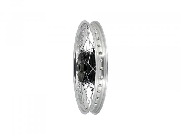 "Spoked wheel 1.5 x 16"" polished aluminium rim, chrome spokes, black hub - Simson S50, S51, KR51 Schwalbe, SR4"