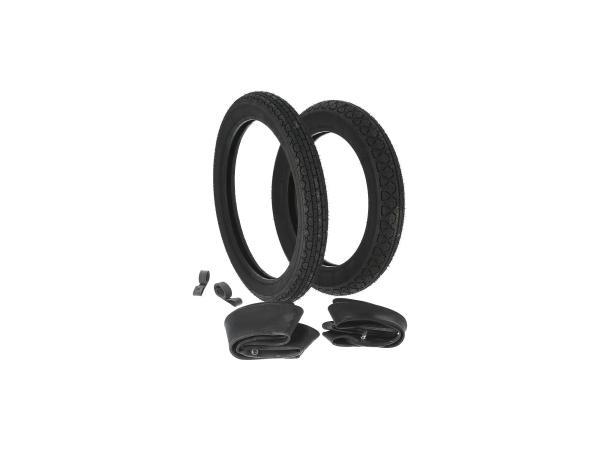 Set: 2x tyres Heidenau + 2x tubes + 2x rim tape - MZ ETZ 125, ETZ150