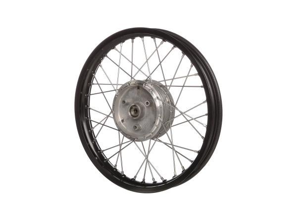 "Spoked wheel 1,6 x 16"" aluminium rim, black anodized, stainless steel spokes - Simson S50, S51, KR51 Schwalbe, SR4"