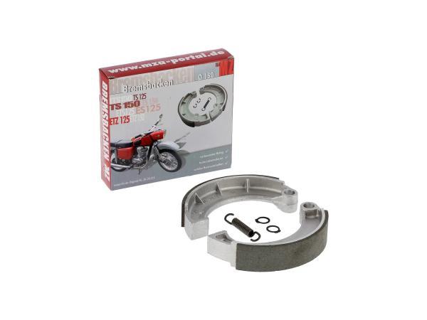 10021004 Set: Bremsbacken - 2 Stück mit Feder + Sicherungsring, für Ø150 mm - MZ ES, ETZ, TS, RT - Bild 1