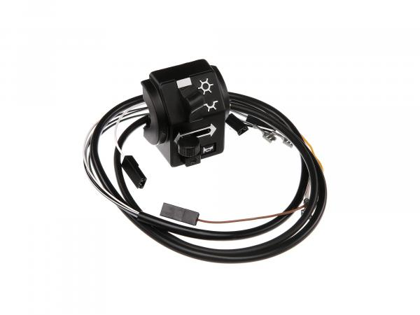 Switch combination 8626.19/21 with cable, without headlight flasher, 12V, high control arm - Simson S53, S83