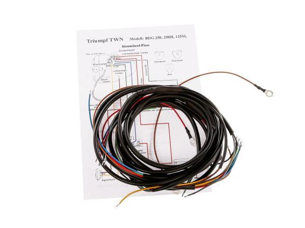 Kabelbaum mit Schaltplan - für Triumph TWN BDG250, 250H, 125SL