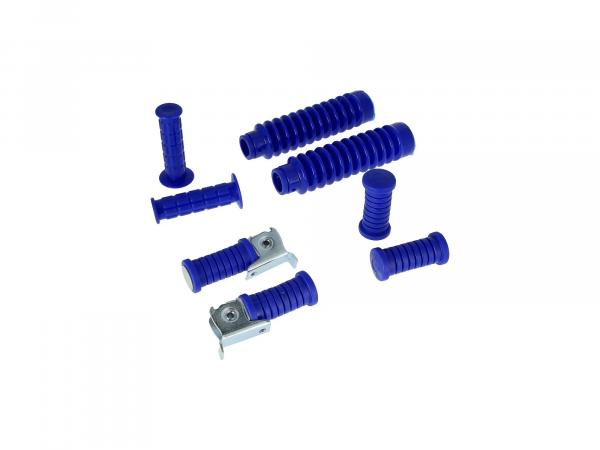 Set: handlebar grips + footrests + bellows in blue - for Simson S50, S51, S70, S53, S83