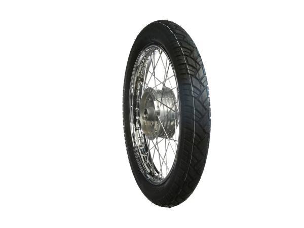 """10005855 Komplettrad hinten 1,5x16"""" Stahlfelge verchromt + Chromspeichen + Reifen Vee Rubber 094 - Bild 1"""