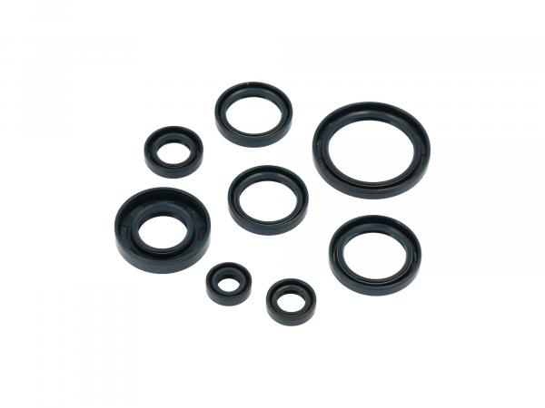 Set: Oil seals, 8 pieces, blue, double lip - AWO 425 Sport