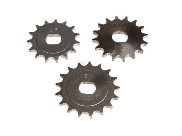 Set: Ritzel, kleines Kettenrad (15Z, 16Z, 17Z) - für Simson S51, S70, S53, S83, KR51/2 Schwalbe, SR50, SR80