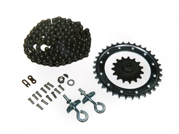 Set of drive parts SR2, SR2E (riveted drive ring, chain tensioner Ø10, chain, sprocket 15 T. etc.)