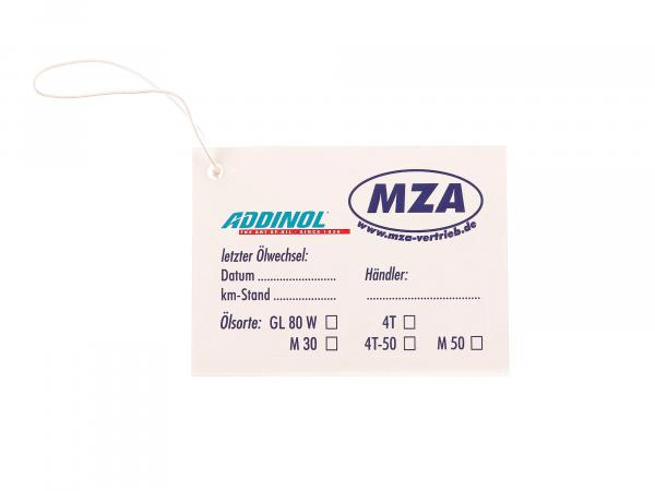 ADDINOL - MZA oil change sticker for moped / motorcycle, very elastic, good to apply on curves (writeable: km-stand: / dealer: / oil type)