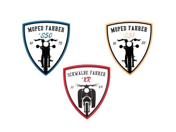 """GP10000505 Set: 3x Aufkleber - """"Moped Fahrer"""" Wappen, #S50, #S51, #KR - Bild 1"""